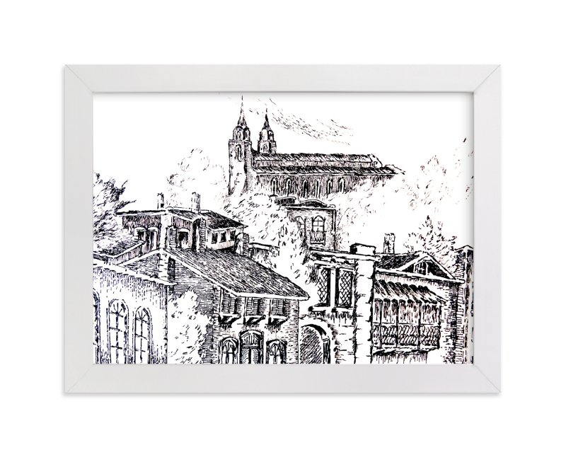 """Colonial VIllage"" - Art Print by Nene in beautiful frame options and a variety of sizes."