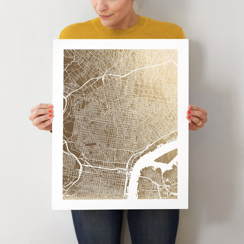 16 x 20 Philadelphia Map Foil Pressed Wall