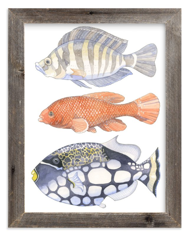 """Three Fish"" - Art Print by Natalie Groves in beautiful frame options and a variety of sizes."