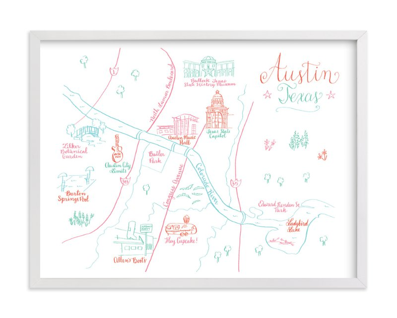 Austin, Texas Calligraphy Map Wall Art Prints by Megan Kelso   Minted
