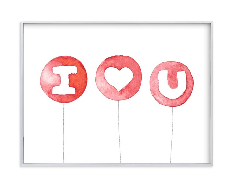 """I Heart U Balloons"" - Art Print by Belia Simm in beautiful frame options and a variety of sizes."