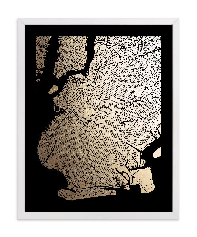 Brooklyn Map Foil Pressed Wall Art By Alex Elko Design
