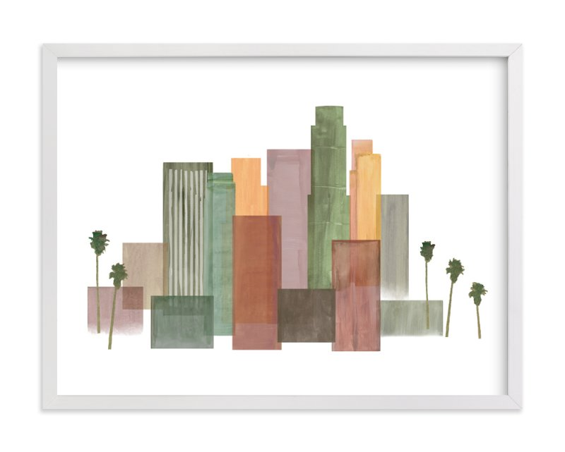 """""""Skyline Los Angeles"""" - Art Print by Katherine Moynagh in beautiful frame options and a variety of sizes."""