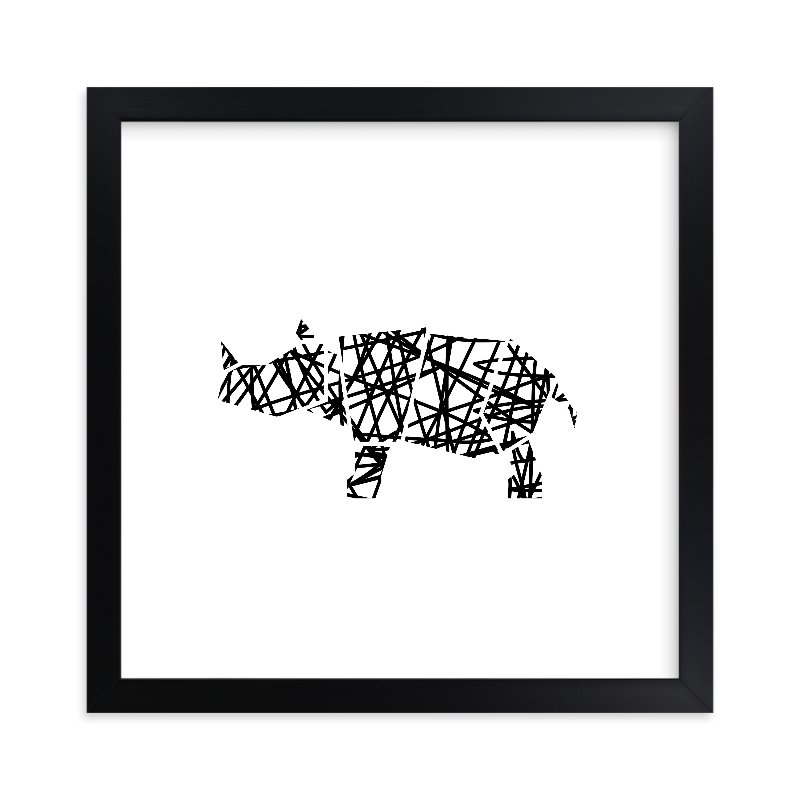 """Modern Abstract Scribble Rhino"" - Limited Edition Art Print by Noelle Stolworthy in beautiful frame options and a variety of sizes."