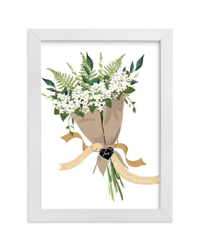"""Massachusetts Mayflower Bouquet"" - Art Print by Susan Moyal in beautiful frame options and a variety of sizes."