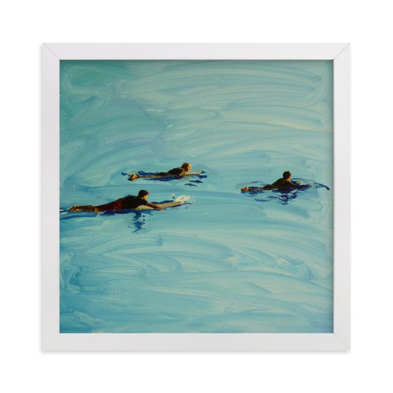 """Paddling Out"" - Art Print by Annie Seaton in beautiful frame options and a variety of sizes."
