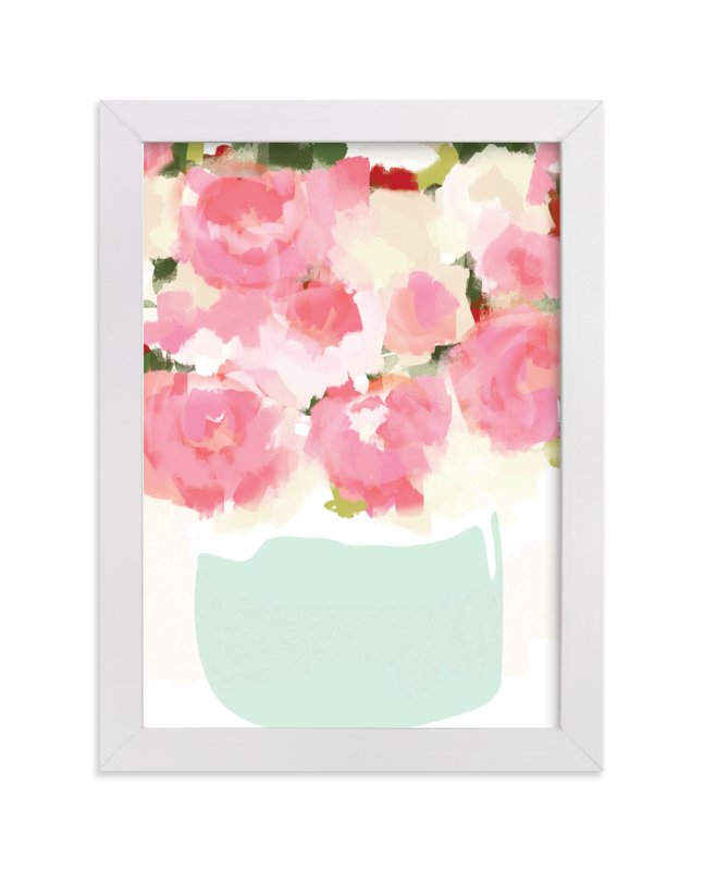"""Peonies in Vase"" - Art Print by kelli hall in beautiful frame options and a variety of sizes."