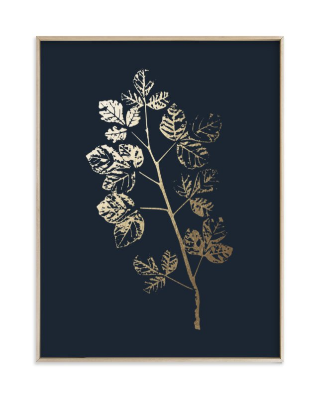 """Fragrant Sumac Branch"" - Foil-pressed Art Print by LemonBirch Design in beautiful frame options and a variety of sizes."