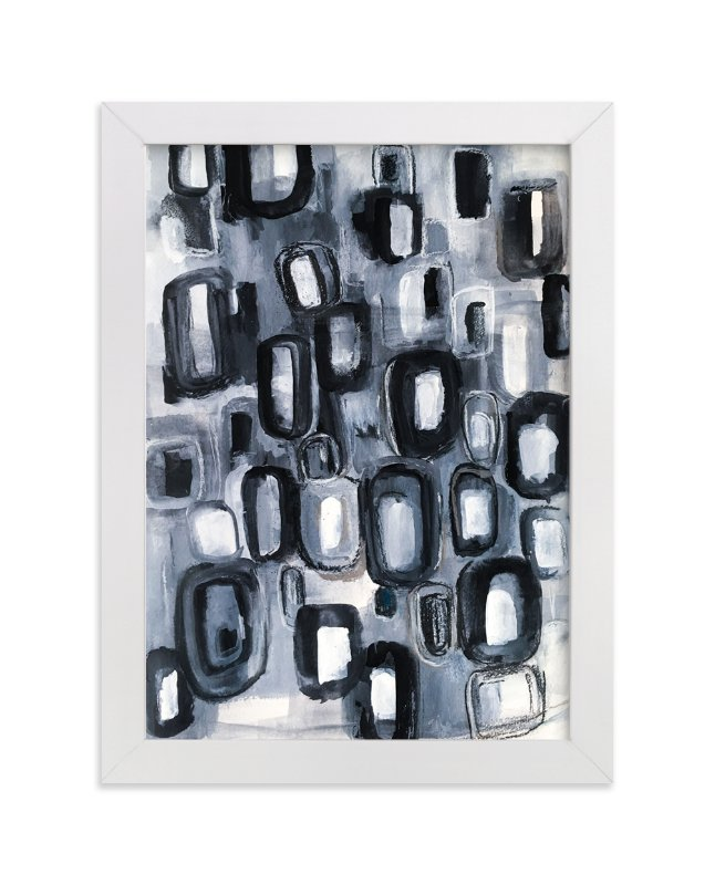 """Black and Gray Stone Abstract Painting"" - Art Print by Melanie Biehle in beautiful frame options and a variety of sizes."