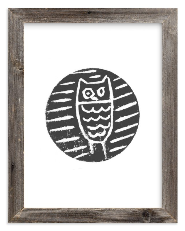 """""""Little Owl"""" - Limited Edition Art Print by Jenn Lawrence in beautiful frame options and a variety of sizes."""