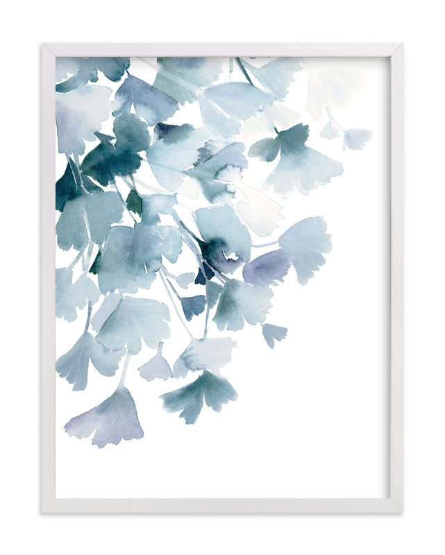 """""""Blue Ginkgo"""" - Art Print by Yao Cheng in beautiful frame options and a variety of sizes."""