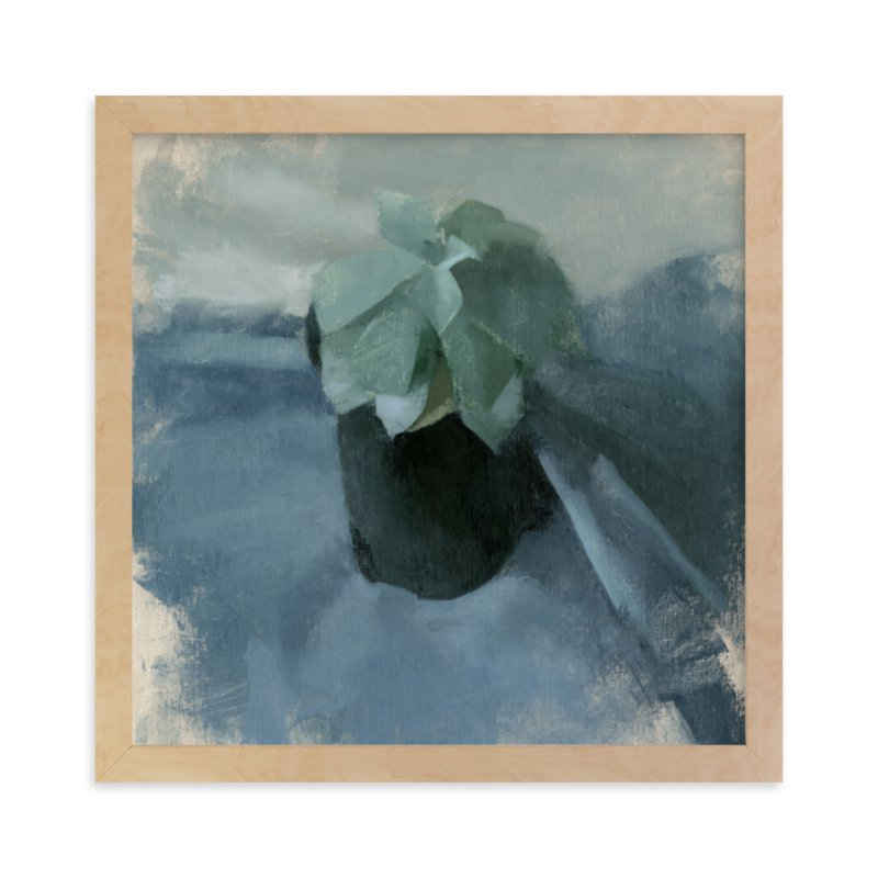 """Succulent in Blue"" - Art Print by Elisabeth Larson in beautiful frame options and a variety of sizes."