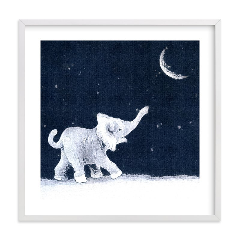 """""""Moon Balloon"""" - Art Print by Maja Cunningham in beautiful frame options and a variety of sizes."""