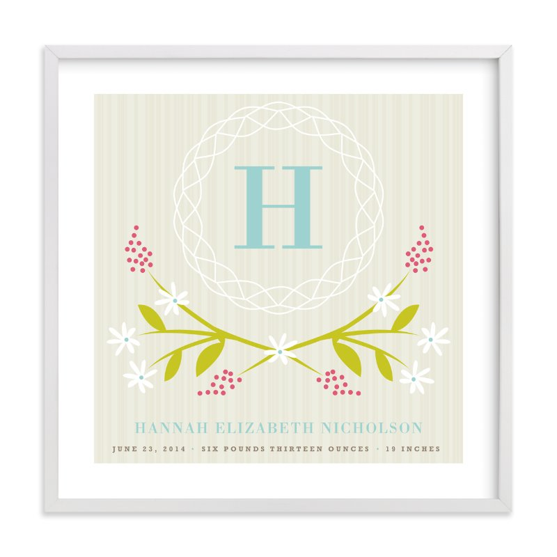 """Initial Wreath"" - Nursery Custom Art Print by Kristie Kern in beautiful frame options and a variety of sizes."