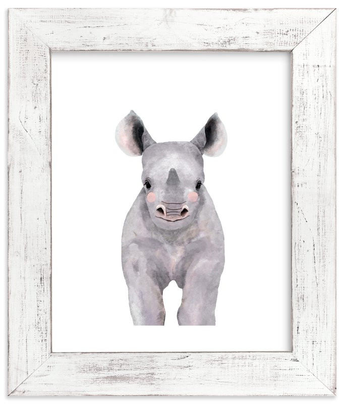 """""""Baby Animal Rhinoceros"""" - Art Print by Cass Loh in beautiful frame options and a variety of sizes."""