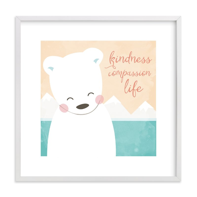 """kind polar bear"" - Art Print by peetie design in beautiful frame options and a variety of sizes."