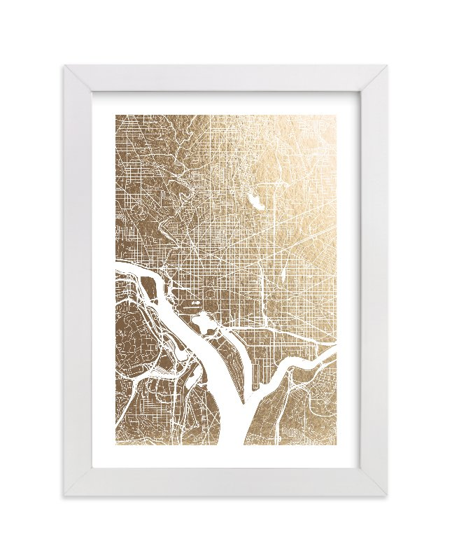 """""""Washington D.C. Map"""" - Foil-pressed Art Print by Alex Elko Design in beautiful frame options and a variety of sizes."""