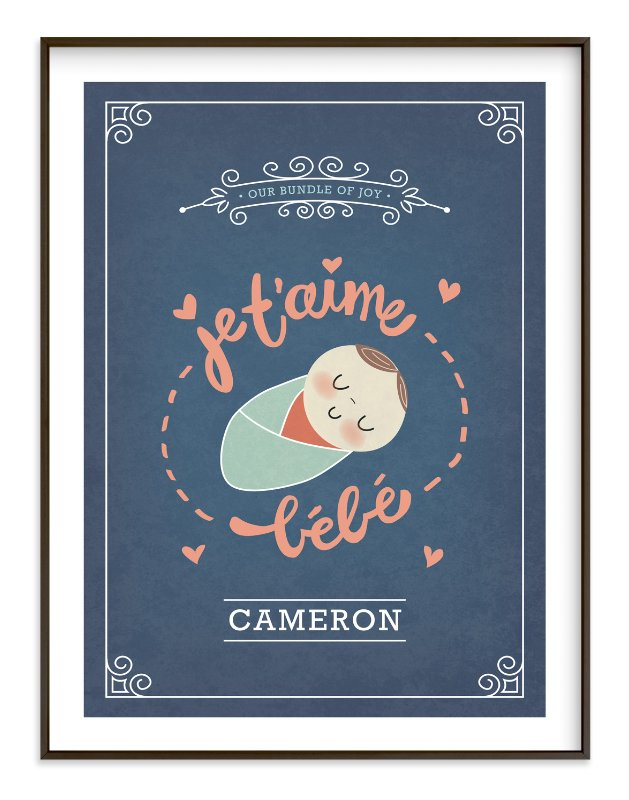 """""""Je T'aime Bebe"""" - Nursery Custom Art Print by Guess What Design Studio in beautiful frame options and a variety of sizes."""