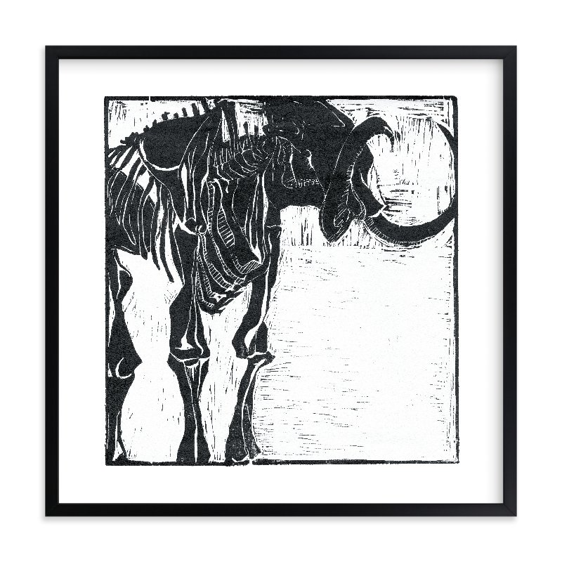 """Dino Woodcut"" - Limited Edition Art Print by South City Press in beautiful frame options and a variety of sizes."
