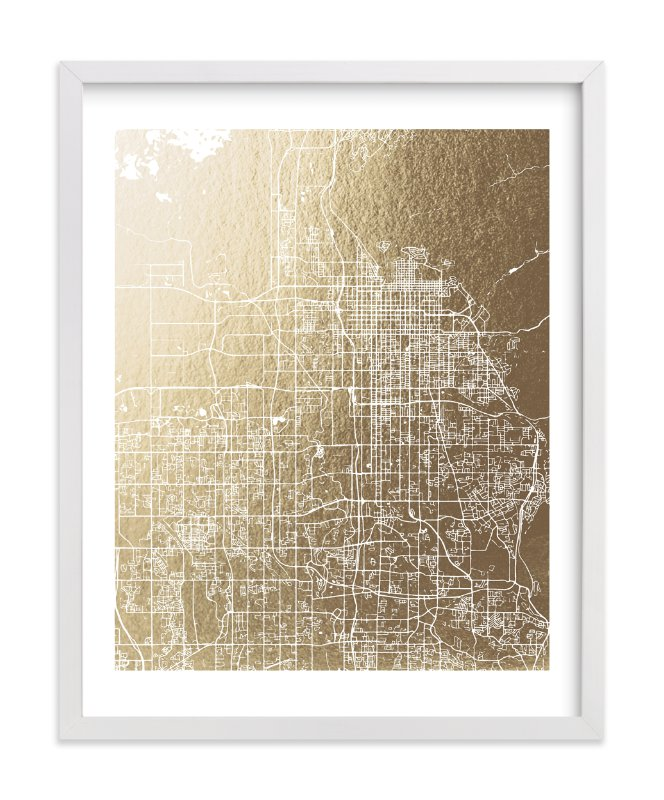 """""""Salt Lake City Map"""" - Foil-pressed Art Print by Melissa Kelman in beautiful frame options and a variety of sizes."""