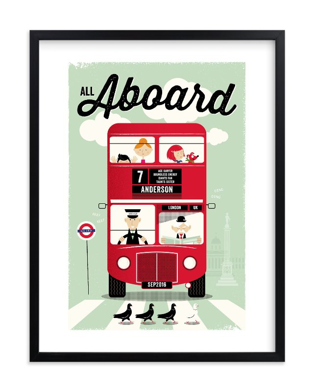 """""""All Aboard"""" - Children's Custom Art Print by One Little Bird in beautiful frame options and a variety of sizes."""