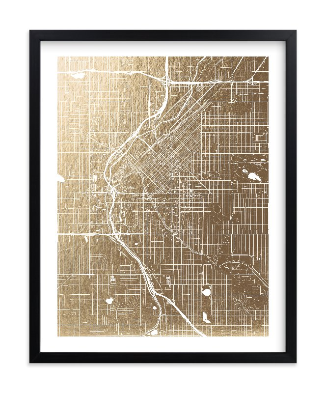 """""""Denver Map"""" - Foil-pressed Art Print by Alex Elko Design in beautiful frame options and a variety of sizes."""