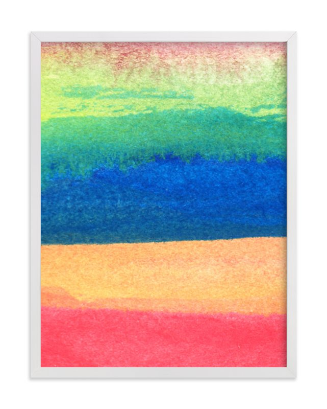 """watercolor abstract painting stripes1"" - Art Print by aticnomar in beautiful frame options and a variety of sizes."