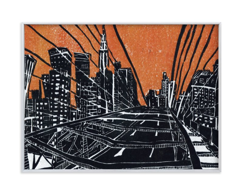 """New York Bridge"" - Art Print by Viktoria Eperjesi in beautiful frame options and a variety of sizes."
