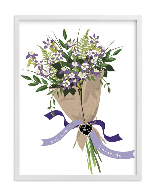 """Colorado Blue Columbine Bouquet"" - Art Print by Susan Moyal in beautiful frame options and a variety of sizes."