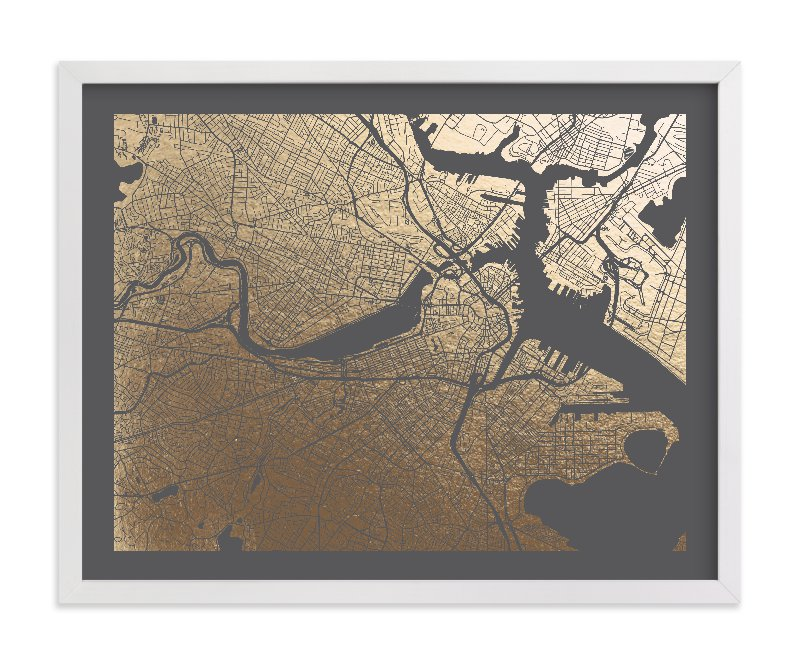 """""""Boston Map"""" - Foil-pressed Art Print by Alex Elko Design in beautiful frame options and a variety of sizes."""
