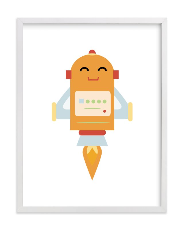 """Rocket Bot"" - Art Print by Dawn Jasper in beautiful frame options and a variety of sizes."