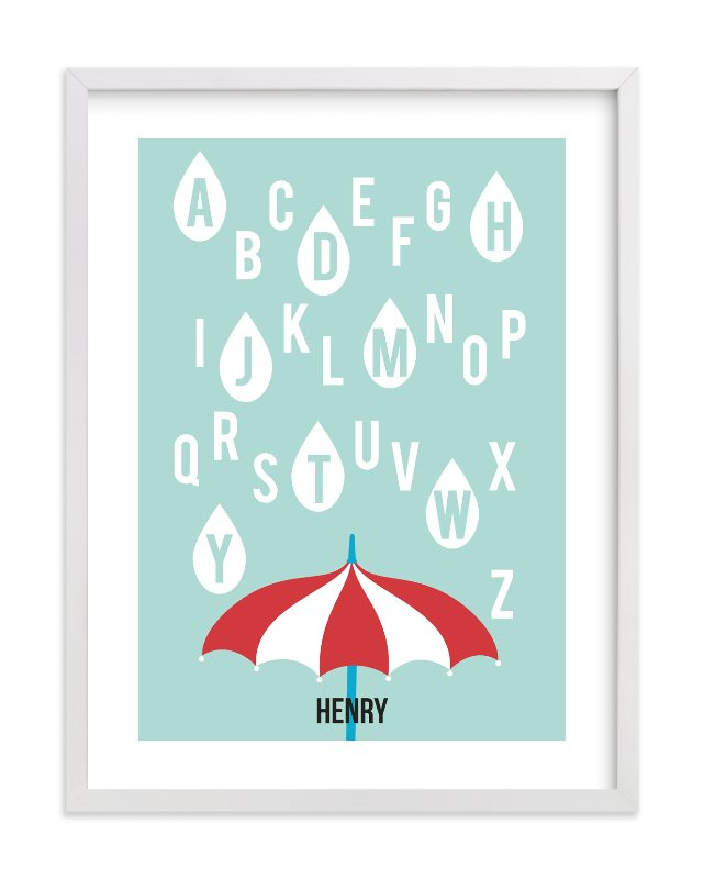 """Alphabet Showers"" - Nursery Custom Art Print by Jenny Batt in beautiful frame options and a variety of sizes."
