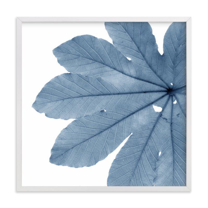 """Leaf in Blue"" - Art Print by Jonathan Brooks in beautiful frame options and a variety of sizes."