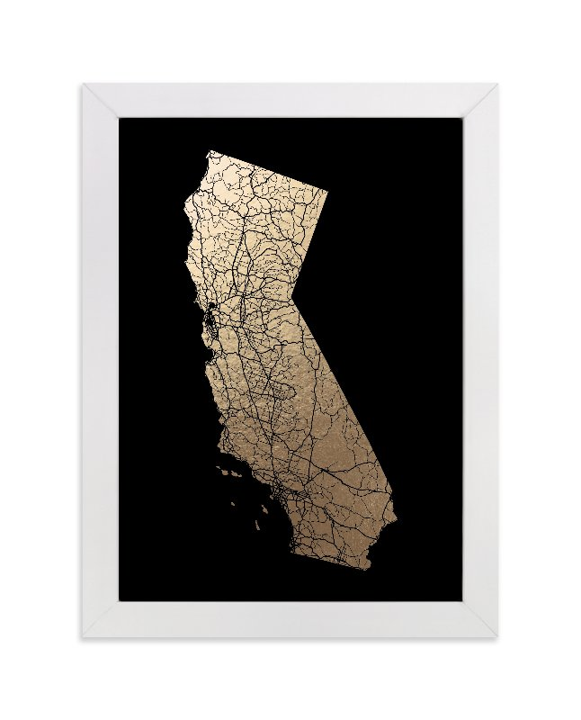 """California Map Filled"" - Foil-pressed Art Print by GeekInk Design in beautiful frame options and a variety of sizes."