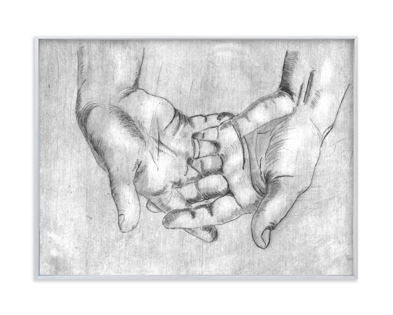 """Gesture - Open Hands"" - Art Print by Alaine Ball in beautiful frame options and a variety of sizes."