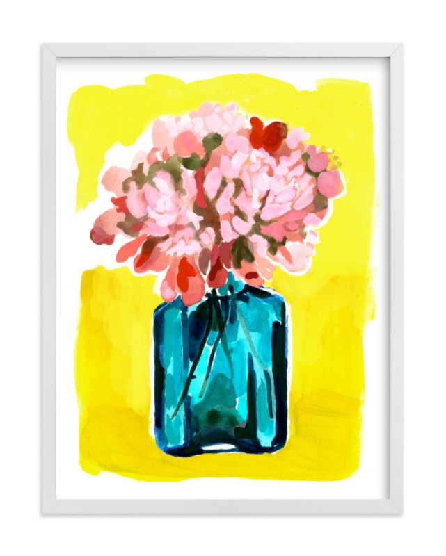 """Peony Bottle"" - Art Print by Betty Hatchett in beautiful frame options and a variety of sizes."