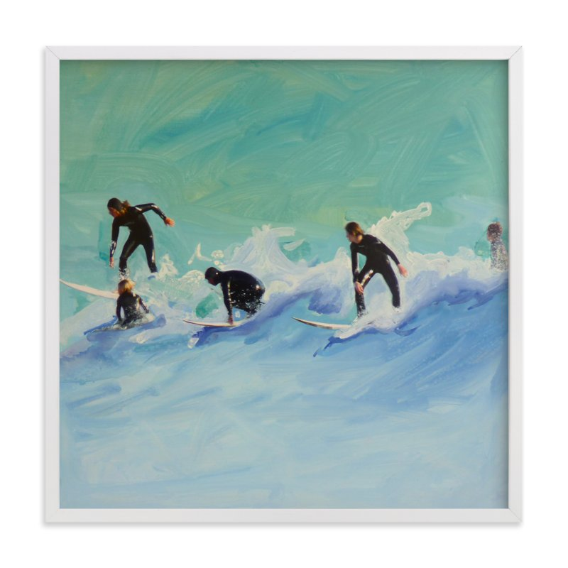 """""""Surf boys at Sunset"""" - Art Print by Annie Seaton in beautiful frame options and a variety of sizes."""