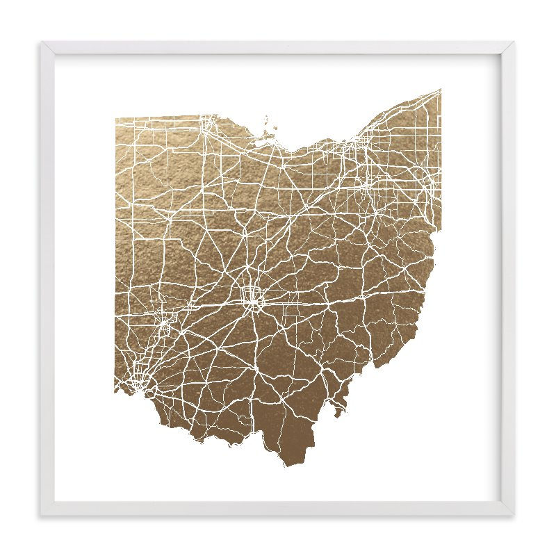 """Ohio Map"" - Foil-pressed Art Print by GeekInk Design in beautiful frame options and a variety of sizes."