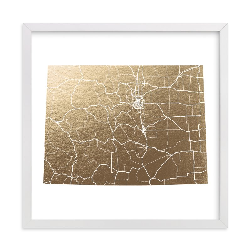 Colorado Map Foil Stamped Wall Art By Geekink Design Minted