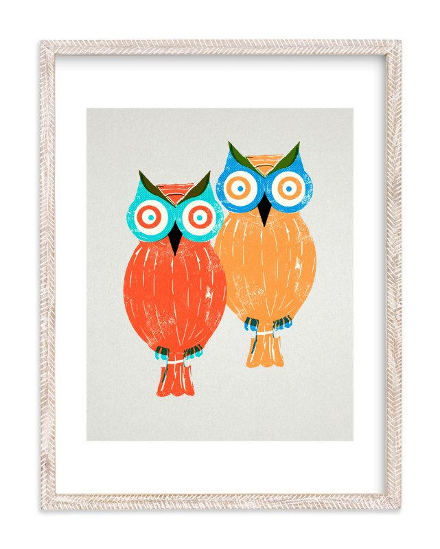 """Two Owls"" - Art Print by Anne Crosse in beautiful frame options and a variety of sizes."