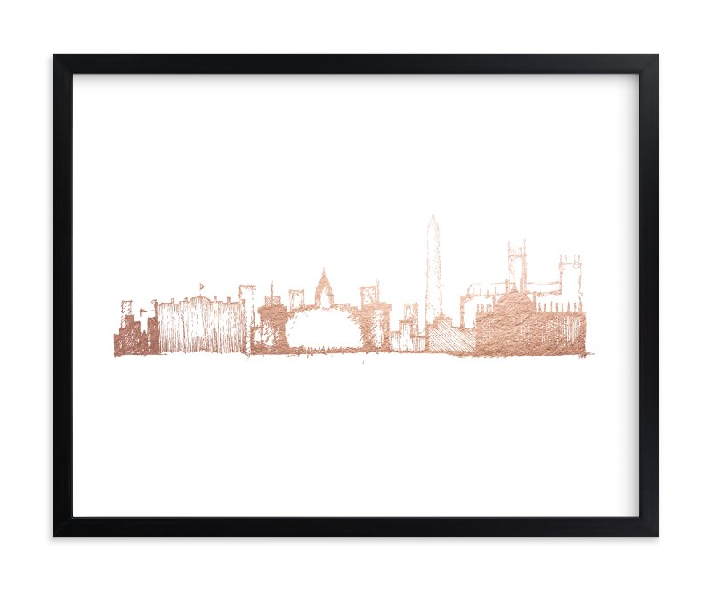 """""""Washington D.C. Skyline"""" - Foil-pressed Art Print by Phrosne Ras in beautiful frame options and a variety of sizes."""