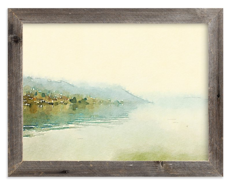 """Misty lake"" - Art Print by Helen H Wu in beautiful frame options and a variety of sizes."
