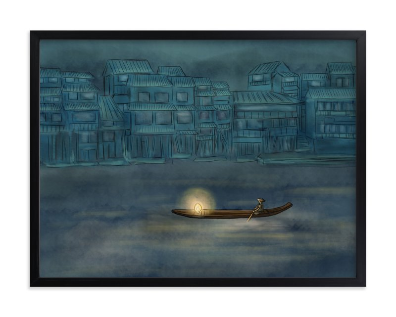 """a foggy NIGHT"" - Art Print by Helen H Wu in beautiful frame options and a variety of sizes."