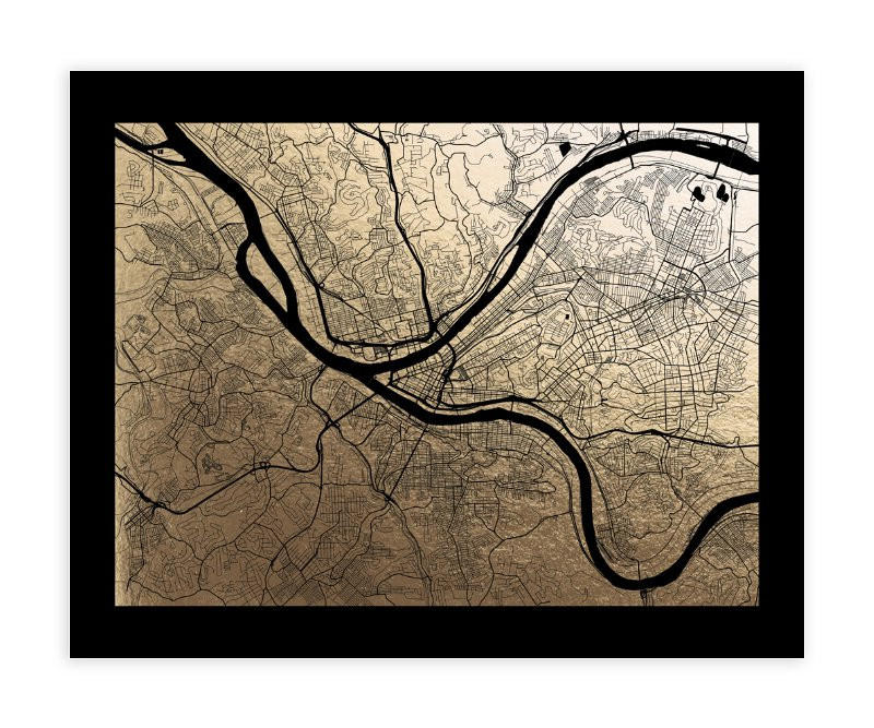 Pittsburgh Map Foil-Pressed Wall Art By Alex Elko Design