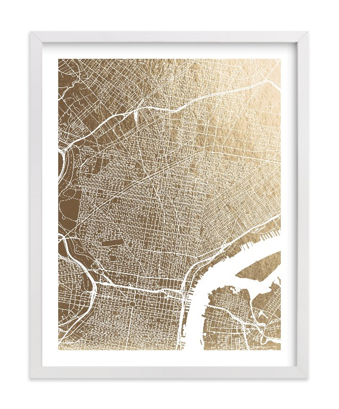 """Philadelphia Map"" - Foil-pressed Art Print by Alex Elko Design in beautiful frame options and a variety of sizes."