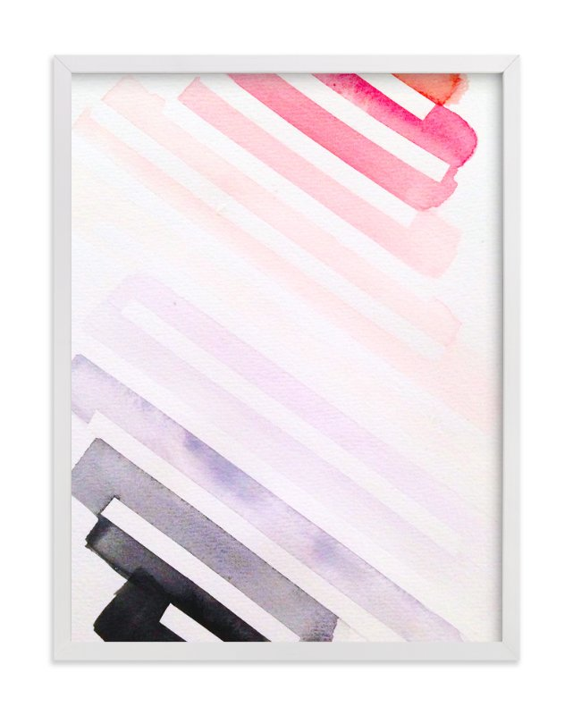 """""""Pink, With An Edge Watercolor"""" - Art Print by Melanie Biehle in beautiful frame options and a variety of sizes."""